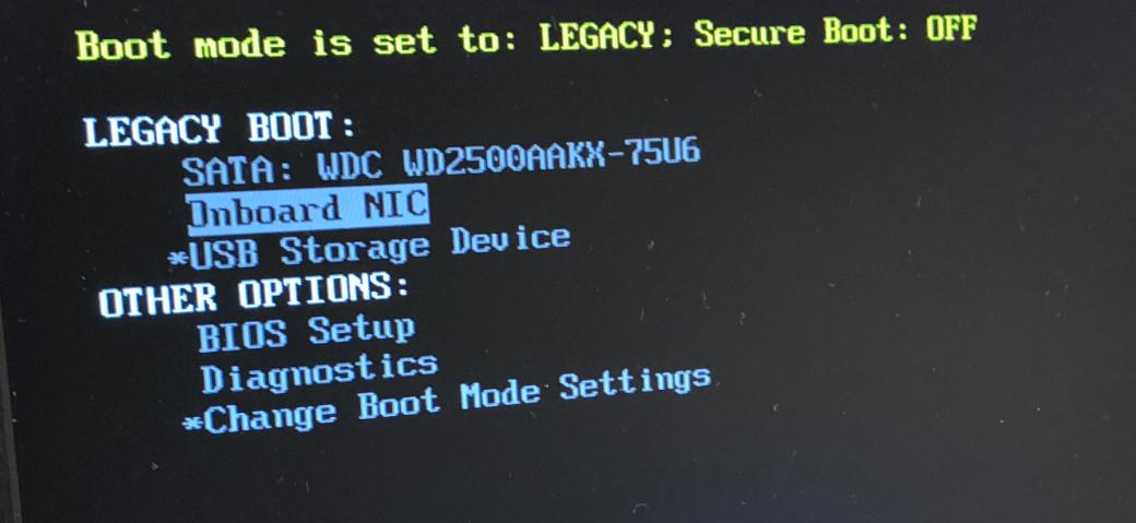 BIOS view Network Interface